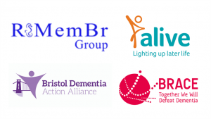 Logos the ReMembr Group, Alive Activities, Bristol Dementia Action Alliance and BRACE
