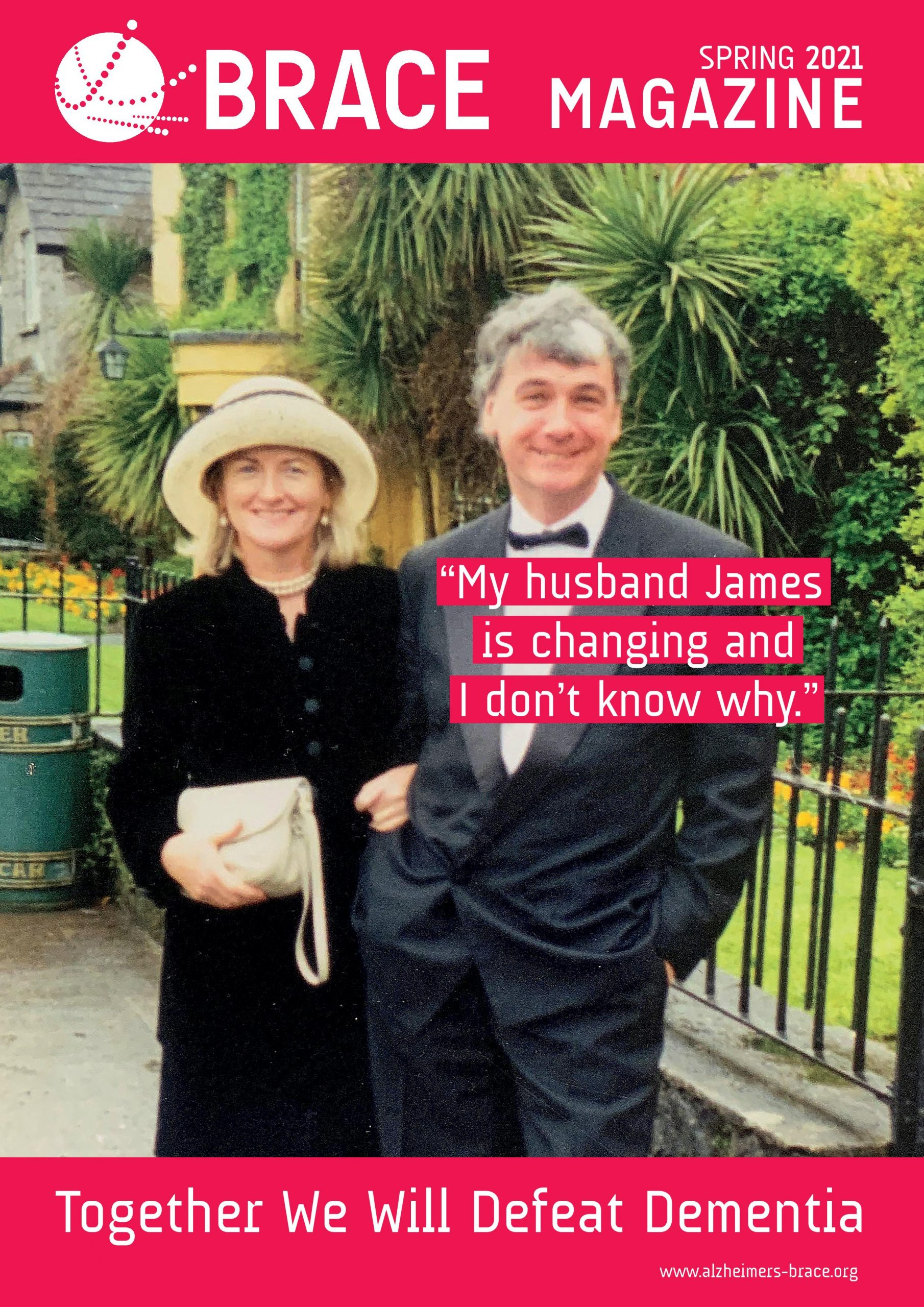 Spring 2021 magazine front cover. A man and a woman standing closely together smiling.