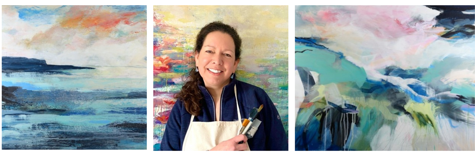 Artist Sarah Boden with three colourful paintings