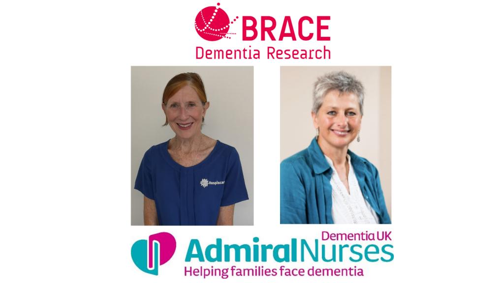 Speakers Chrissy Hussey and Jakki Whitehead plus BRACE and Admiral Nurses logos