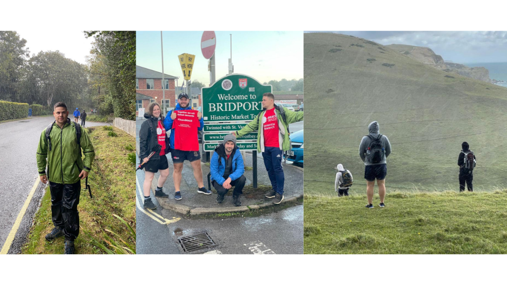 The four walkers standing together in the middle by Bridport sign. On the side is two photos of walking in the rain.