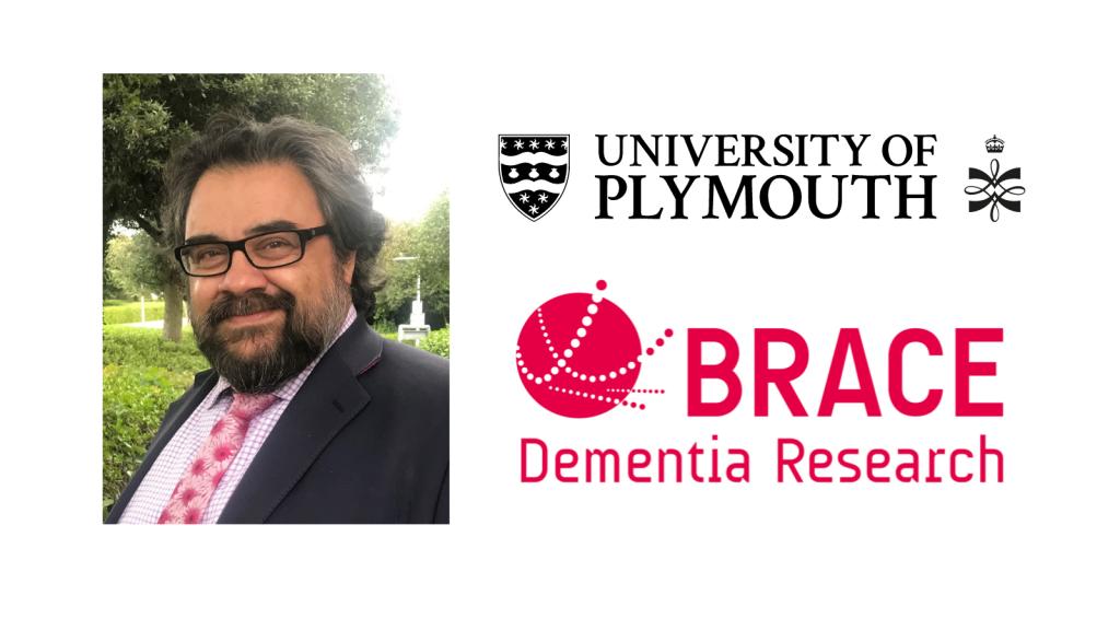Professor Sube Banerjee and University of Plymouth logo and BRACE logo.