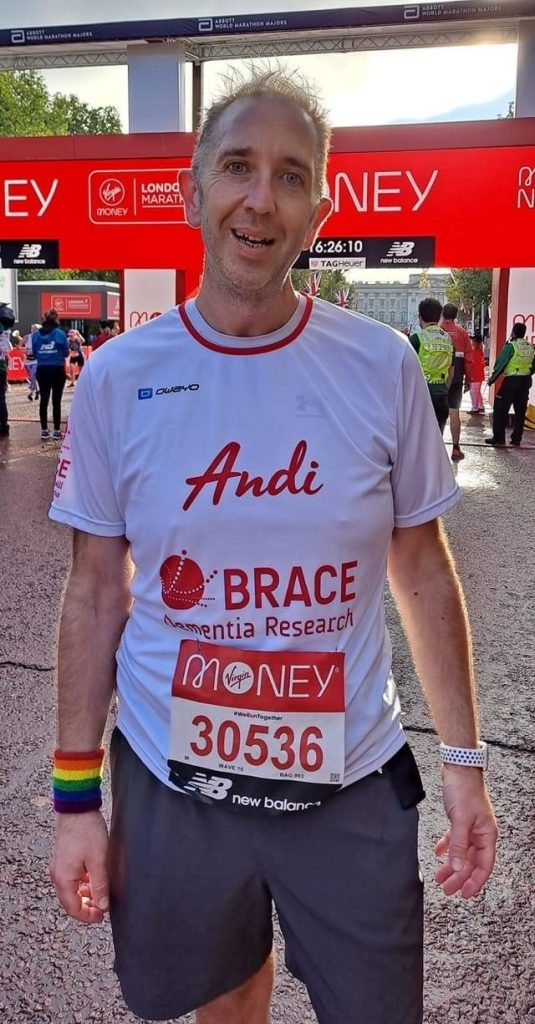 Andi is stood by the finish line of the London Marathon