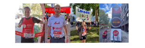 Four of the London Marathon runners in different pictures. They are all wearing BRACE running tops and looking at the camera.